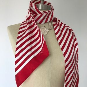 Coach red & white stripped silk scarf